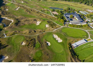 View of a golf course in the Taunus / Germany from a bird's eye view