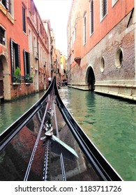 A view from the gondola of the canal of Venice in Italy May 14th 2015