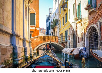 A view from Gondola ride through the canal in Venice, Italy