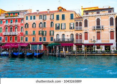 View of gondolas at Grand Canal in Venice, Italy, Europe