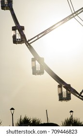 View of the gondolas of a observation wheel