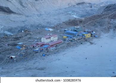 View of Gorak Shep at dawn from Kala Patthar, Gorak Shep, Everest Base Camp trek, Nepal