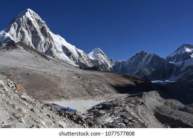 View of Gorak Shep and Pumori, Nepal