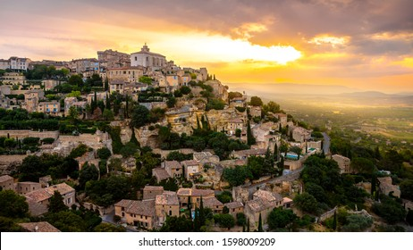 View of Gordes, a small medieval town in Provence, France. A view of the ledges of the roof of this beautiful village and landscape.