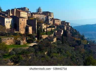 View to the Gordes, is a very beautiful hilltop village in France. Provence-Alpes-Cote d'Azur region