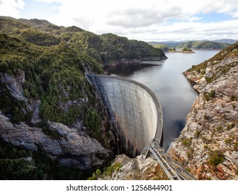 View of the Gordon Dam, also known as the Gordon River Dam, it is a major gated double curvature concrete arch dam with a controlled spillway across the Gordon River,  South West Tasmania, Australia