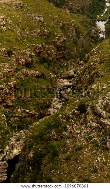 View of gorge and caves in rocky area on the scenic Route 62, Western Cape, South Africa
