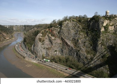 A view of the Gorge, River Avon and road below from the Clifton Suspension Bridge. The bridge was the  creation of Isambard Kingdom Brunel a famous English Victorian Designer and Engineer