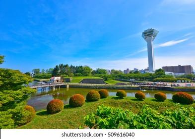 View of the Goryokaku Park in summer in Hakodate, Hokkaido, Japan.