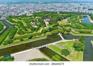 View of Goryokaku Park, where is a star fort built in 1855 in Hakodate, Hokkaido, Japan.