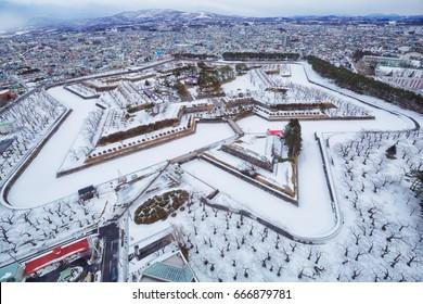 View from Goryokaku tower in Winter. Hakodate, Hokkaido, Japan