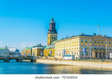View of the Goteborg city museum and tyska kirkan church, Sweden