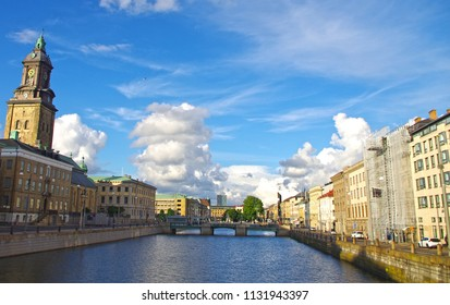 A view of the Gothenburg city river on a sunny day.