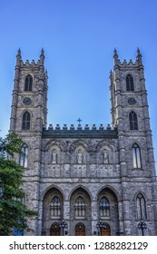 View of Gothic Revival style Notre-Dame Basilica (Basilique Notre-Dame de Montreal). Notre-Dame Basilica was built between 1824 and 1829. Notre-Dame Street West, Montreal, Province of Quebec, Canada.