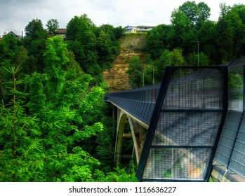 View to the Gotteron's bridge in Fribourg, Switzerland