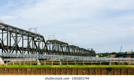 View of Government Bridge over Mississippi River in Davenport, Iowa, USA