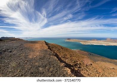 View of Graciosa Island from Mirador del Rio, Lanzarote Island, Canary Islands, Spain