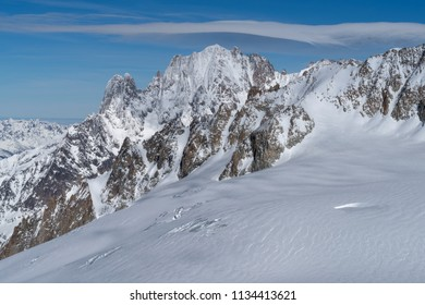 View of the Graian Alps, Mont Blanc range, Aosta Valley, Italy