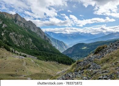 View of Gran Paradiso mountain range in Aosta valley, Italy