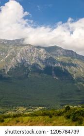 View of Gran Sasso mountain in Abruzzo region Italy