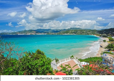 View of Grand Anse bay with tropical beach on Grenada island, Caribbean region of Lesser Antilles