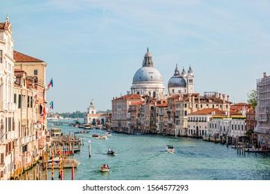 View of Grand Canal and Basilica Santa Maria della Salute in Venice, Italy.