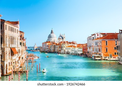 View of Grand Canal and Basilica Santa Maria della Salute in Venice