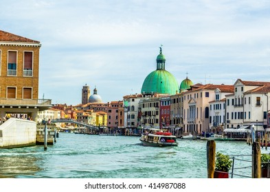 view of the grand canal in italian venice with a cupola of church of san simeone piccolo