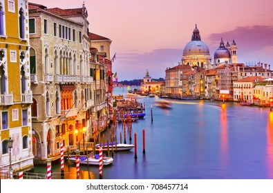 View of the Grand Canal in Venice at dusk