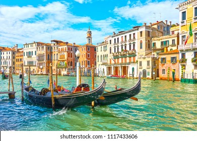 View of The Grand Canal in Venice with moored gondolas in the day time, Italy