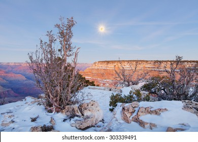 View of at Grand Canyon in winter after sunset, Arizona.
