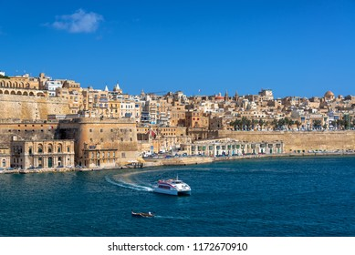 View of the Grand Harbor with historic Valletta, Malta in the background