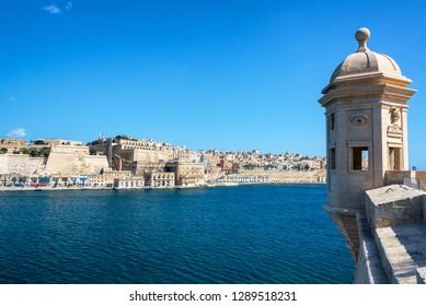 View of the Grand Harbor and Valletta seen from Gardjola Gardens in Senglea, Malta