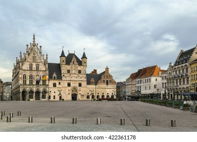 View of Grand Market Square (Grote Markt) with town hall in Mechelen, Belgium