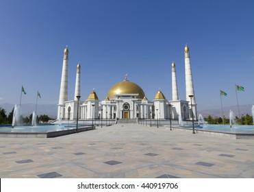 View of the Grand Mosque, Ashgabat, Turkmenistan