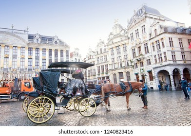View of The Grand Place or Grote Markt in Brussels, Belgium with tourism carriage.