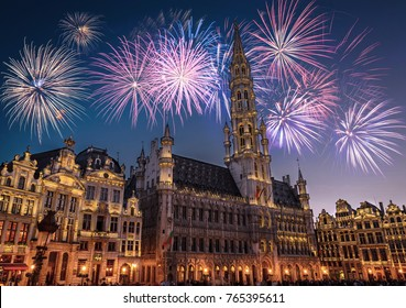 View of the Grand Place (Grote Markt) at night with fireworks on the black skyin Brussels, Belgium