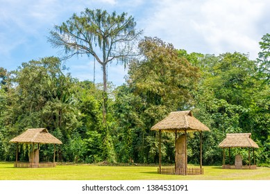 View at the Grand Place with Stelas in ancient Maya archaeological site in Quirigua, Guatemala