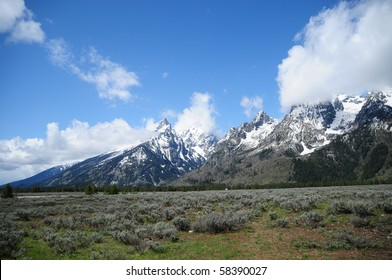 View of Grand Teton Mountains and National Park in Wyoming