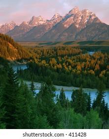 view of Grand Teton from Snake River, Grand Teton National Park, Wyoming