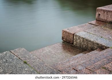 View of granite embankment and sea water