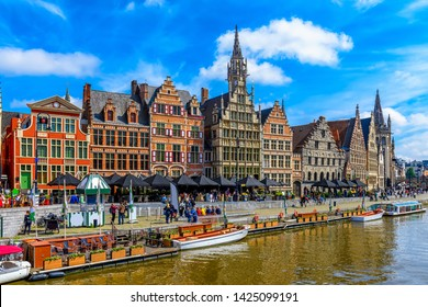 View of Graslei quay and Leie river in the historic city center in Ghent (Gent), Belgium. Architecture and landmark of Ghent. Cityscape of Ghent.