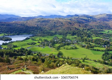 A view of Grasmere from the Alcock Tarn in the Lake District of England