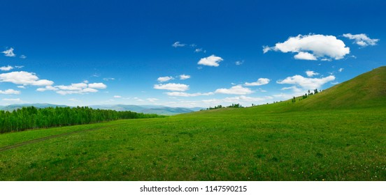 View of grassland in the countryside of Mongolia