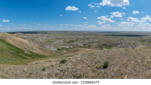 View of Grasslands National Park glacial formations from top of 70 Mile Butte