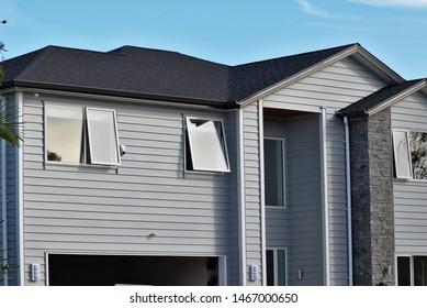 View of gray suburban house