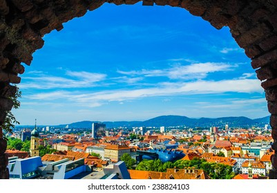 View of Graz city from hill, Austria