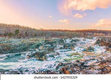 View of Great Falls of the Potomac River from Olmsted Island in winter. Maryland. USA.01/05/2018