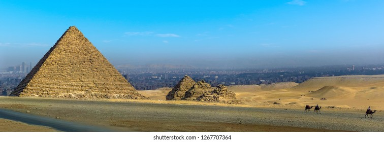 A view of the the Great Pyramid at Giza, Egypt in summer