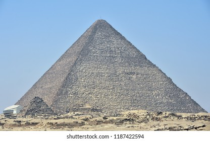 View of the Great Pyramids of Giza in Cairo Egypt